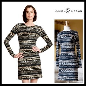 JULIE BROWN BLACK PRINT SHIFT CAREER DRESS A2C